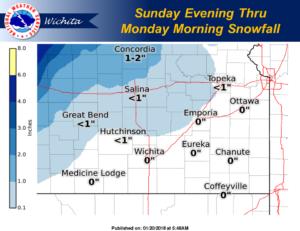 Snow chances Sunday night into Monday