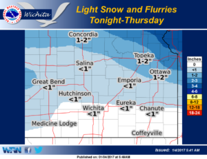 Light snow and flurries expected into Thursday morning