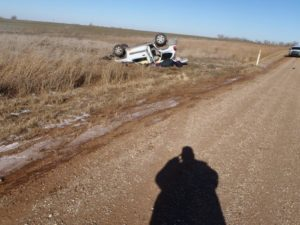 Stolen SUV found on it's top southeast of Salina Sunday morning