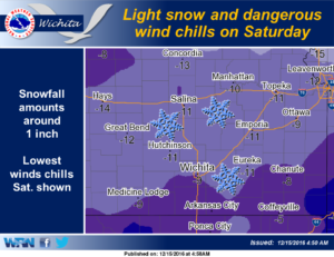 Dangerous wind chills and light snow Saturday