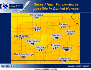 Record highs possible Wednesday