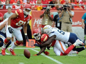Chargers force six turnovers in blowout win against Chiefs