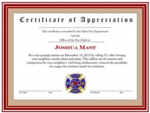 Citizen To Receive Certificate Of Appreciation From Salina Fire Department