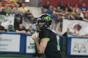 Dane Simoneau looking to pass downfield. (Photo Courtesy of Aaron's Photography/Salina Bombers)