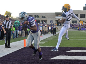 Tyler Lockett catches a touchdown pass against West Virgina. (photo courtesy of kstatesports.com)