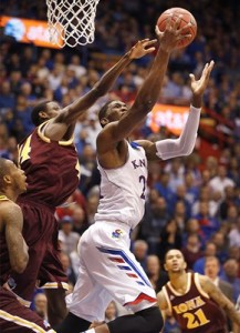 Freshman center Joel Embiid recorded KU's first double-double of the season with 16 points and 13 boards against Iona. (courtesy kuathletics.com)