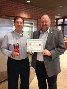 Tom Wilbur presents, BANK VI Hero of the Week, Bryan Anderson, with His award!