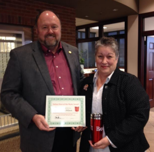 Tom Wilbur Presents Valerie Wilson with Her Hero of the Week Award