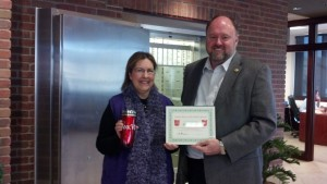 Tom Wilbur Presents Barb Young with Her BANK VI Hero of the Week Award!