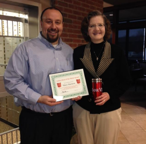 Chris Baker Presents Mary Harmon with Her Hero of the Week Award!