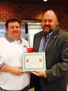 Tom Wilbur, President of BANK VI, presents Mike Reid with his BANK VI Hero of the Week award!