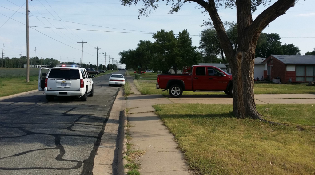 Police on the scene of a report of shots fired in Salina