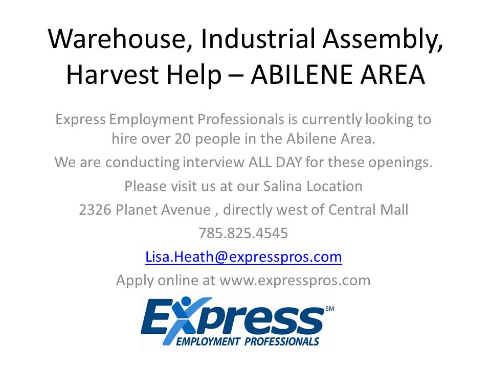 Warehouse, Industrial Assembly, Harvest Help –
