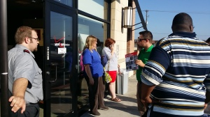 Shoppers waiting in line for the new phone in Salina