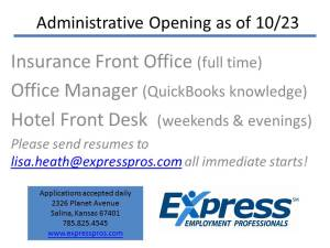 Administrative Opening as of 10