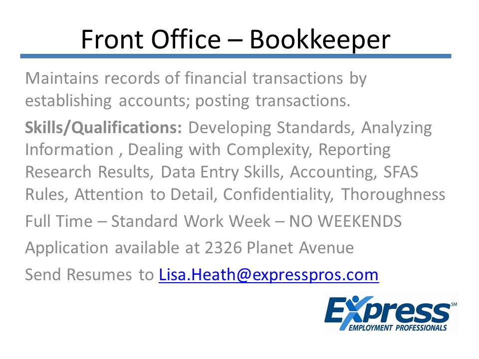 Front Office – Bookkeeper