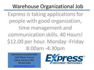 Warehouse Organizational Job
