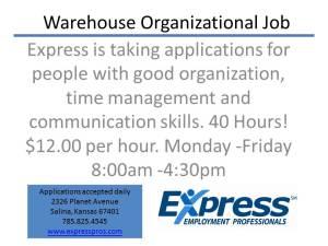 Warehouse Organizational Job