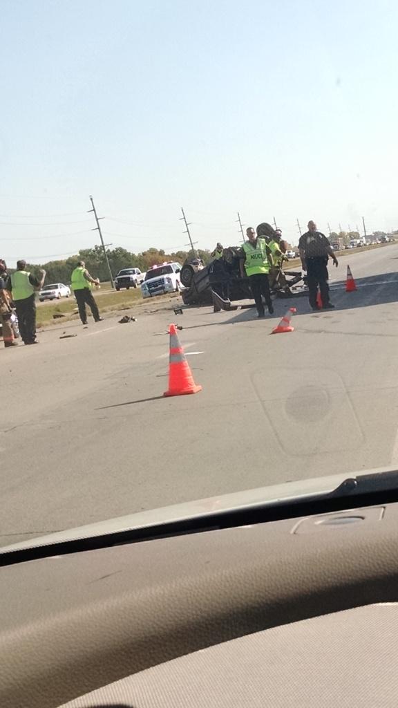 Overturned vehicle on I-135 at Crawford
