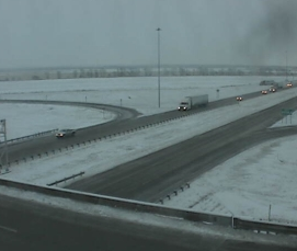 View of the I-70 and I-135 interchange from KDOT at 8 a.m.