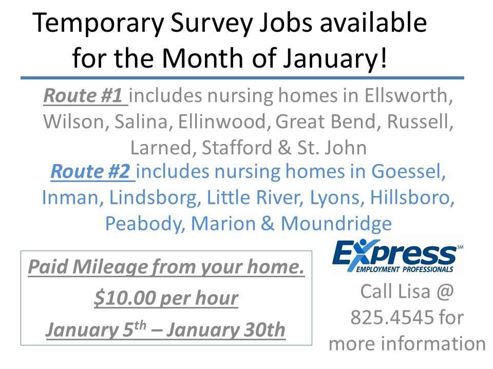 Temporary Survey Jobs available for the Month of