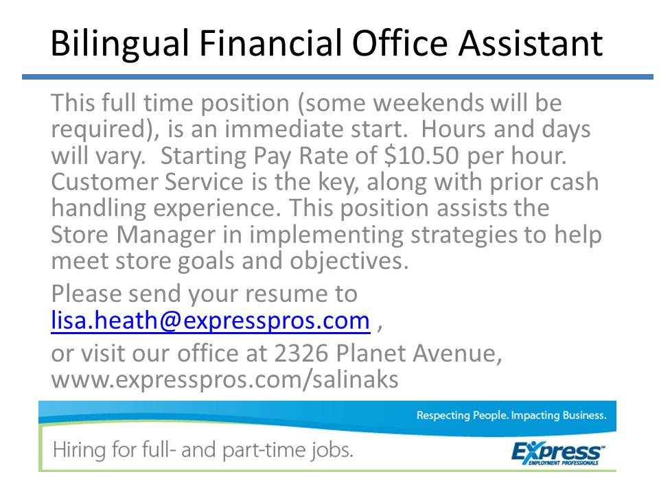 Bilingual Financial Office Assistant