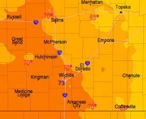 The NWS map at 3 p.m. on Monday. The temperature in Salina continued to climb