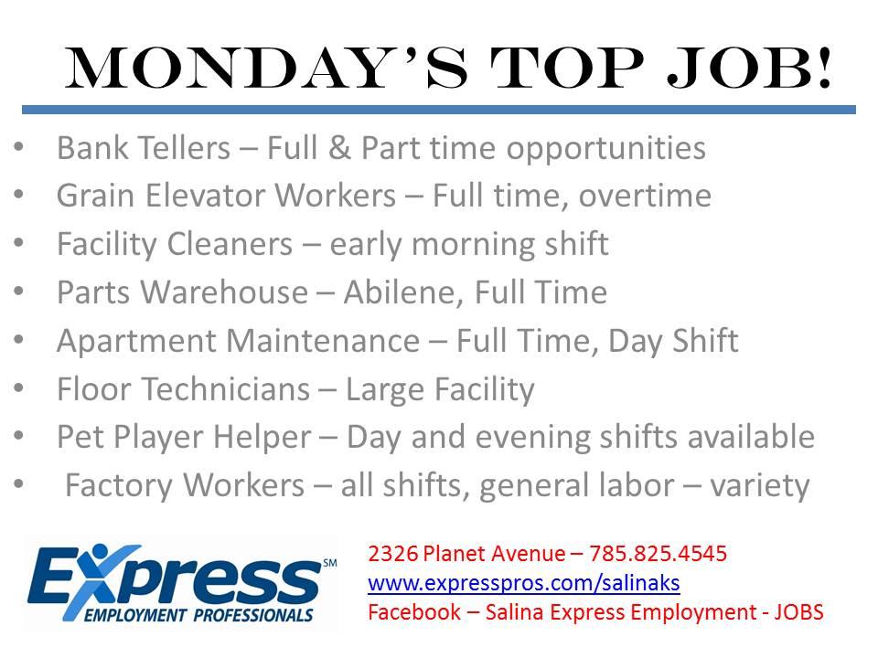 MONDAY's TOP JOB!