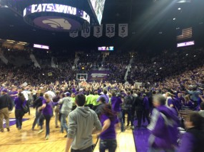 Fans storm the court after Monday night's game