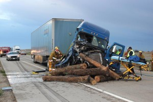 1 hospitalized after I-70 rear-end semi crash