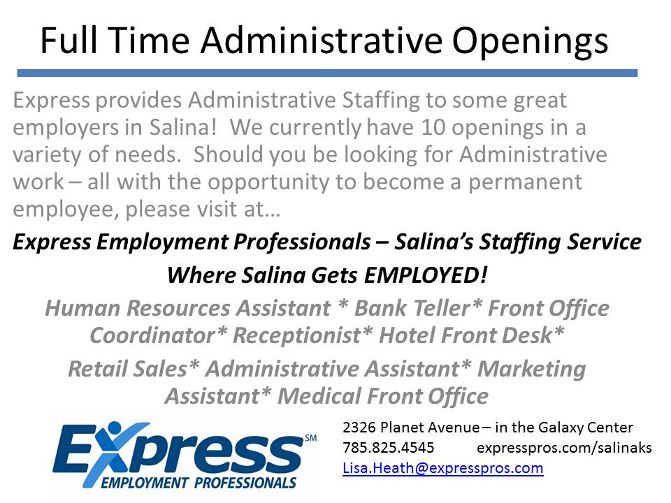 Full Time Administrative Openings