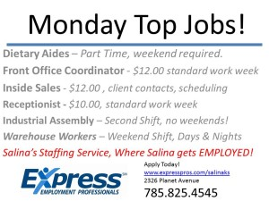 Monday Top Jobs!