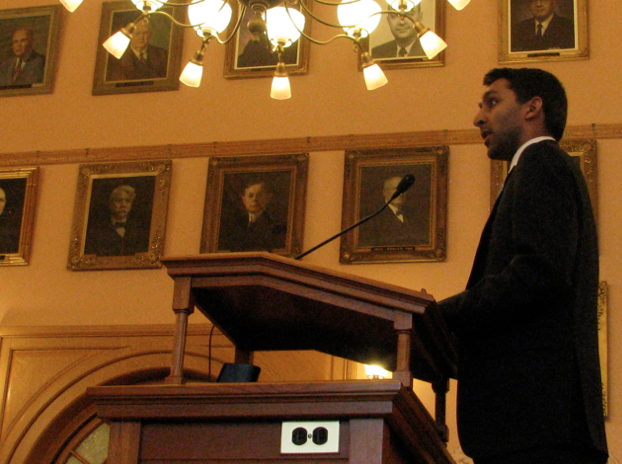 Photo by Dave Ranney Akash Chougule, senior policy analyst for Americans for Prosperity, said during a Kansas House committee hearing that Medicaid expansion efforts in other states have been plagued by cost overruns. -