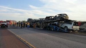 Saturday evening trailer fire on I-135