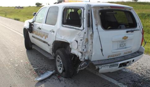 Sheriff's vehicle involved in Thursday's I-70 crash -KHP photo