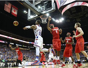 Frank Mason III put up a double-double night  with 15 points and 11 assists.-Univ. of Kansas photo