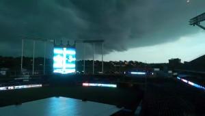 Storm clouds near Kauffman Stadium Monday evening (Photo by Devin Hanney/Salina Post)