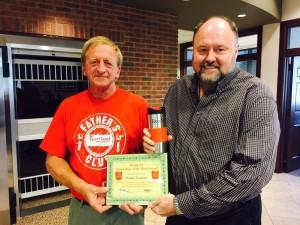 Tom Wilbur, President of BANK VI, presents Randy Eastman with his Hero of the Week Award!