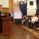 Photo by Dave Ranney Shawn Sullivan, Gov. Sam Brownback's budget director, outlined $63 million in budget changes during a news conference Thursday at the Statehouse.