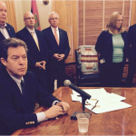Photo by Jim McLean Gov. Sam Brownback in May signed a bill asserting state authority over new U.S. Environmental Protection Agency power plant rules. -