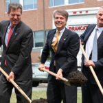 Breaking ground for KU Med Center's new education building Thursday were, from left, Kansas Gov. Sam Brownback, Lt. Gov. Jeff Colyer, and Dr. Robert Simari, executive dean of the School of Medicine, MIKE SHERRY HEARTLAND HEALTH MONITOR