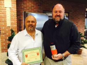 Tom Wilbur, President of BANK VI, presents Paul Morgan with his Hero of the Week Award!