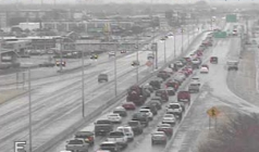 Traffic backed up on icy roads at 11:30 a.m. on Friday in Wichita-photo WichWay
