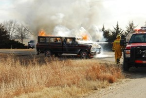 Pickup Catches Fire Friday Afternoon