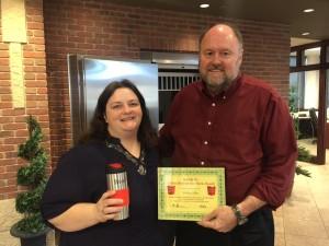 Tom Wilbur, President of BANK VI, presents Kathy Allen with her Hero of the Week Award!