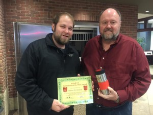 Tom Wilbur, President of BANK VI, presents Nathan McClanahan with his Hero of the Week Award!