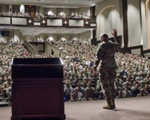 Lt. Gen. Robert Brown gave his final farewell speech as commanding general of the U.S. Army Combined Arms Center and Fort Leavenworth to the students attending the U.S. Army Command and General Staff College.- photos by Dan Neal/Ft. Leavenworth