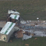 3 hospitalized after semi slices another truck in two