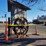 Man hospitalized, arrested after hitting sculpture
