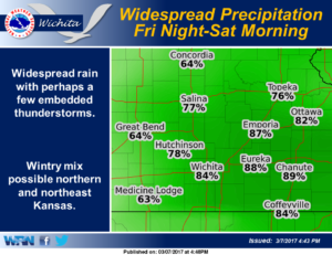 Widespread precipitation expected Friday night into Saturday